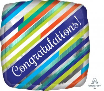 "Congratulations Stripes Balloons 18"" S40-0"