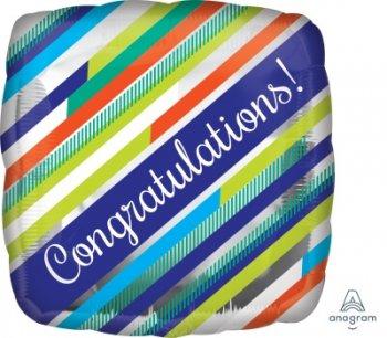 "Congratulations Stripes Balloons 18"" S40-0"