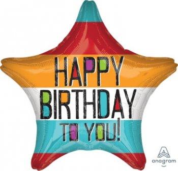 "Bold Type Birthday Star Balloons 18"" S40-0"