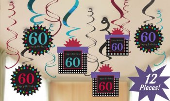 60th Birthday Swirl Decoration - 12 PC-0