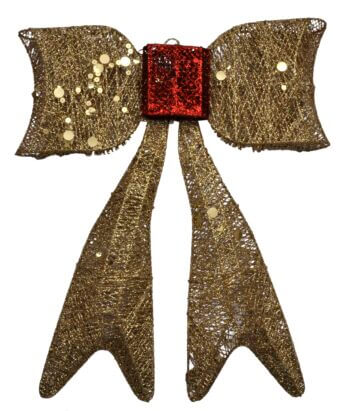 Christmas Bow Golden Glitter Hanging Small