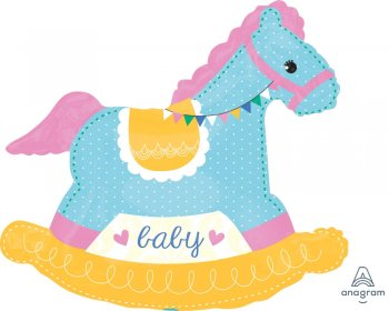 """Baby Shower Rocking Horse Balloons 29"""" P35-1PC-0"""