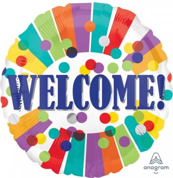 """Welcome Dots & Stripes Balloons 18"""" S40-1PC-0"""