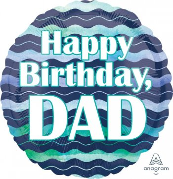 "Happy Birthday Dad Waves Balloons 18"" S40-1PC-0"