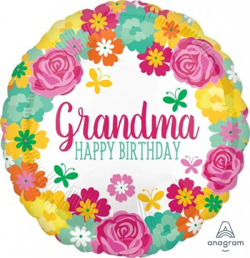 "Happy Birthday Grandma Floral Balloons 18"" S40-1PC-0"