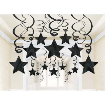 Black Star Swirl Decoration - 15PC-0
