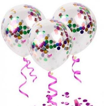 Transparent Confetti Decorative Balloons - 6PC-0