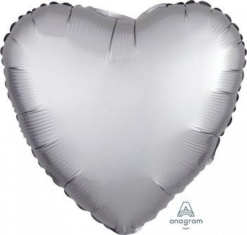 """18"""" Matte Silver Heart Balloons S15-0"""