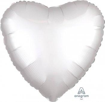 """18"""" Matte Satin White Heart Balloons S15-0"""
