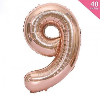 9 Number Balloons - Rose Gold