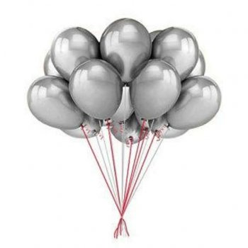 "11"" Chrome Silver Latex Balloons - 10PC-0"