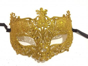 Glitter Fashion Eye Mask Gold - 1PC-0
