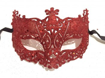 Glitter Fashion Eye Mask Red - 1PC-0