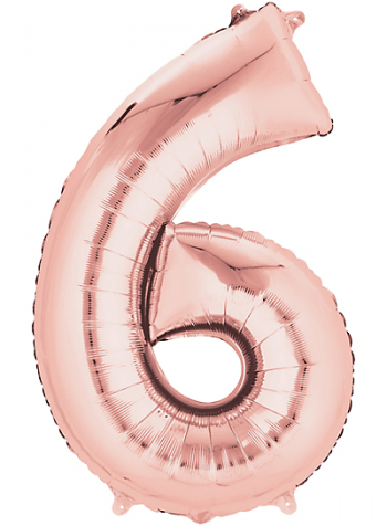 """40"""" Numerical 6 Rose Gold Balloons-0"""