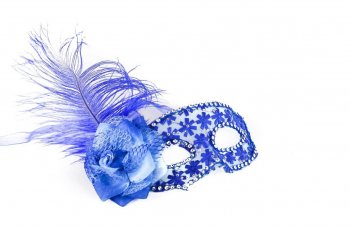 Blue Mask w/Flower Feather-0