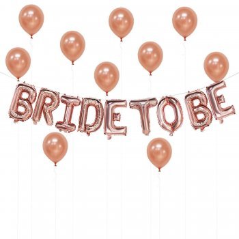 Bride To Be Rose Gold Banner Balloons-0