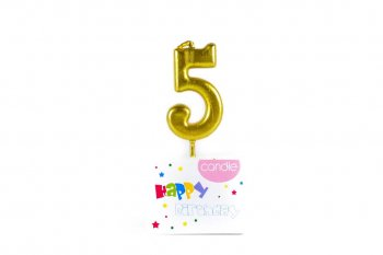 Golden Numerical Candle No. 5-0