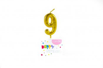Golden Numerical Candle No. 9-0