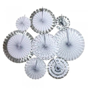 Silver Paper Fan Decoration - 8PC-0