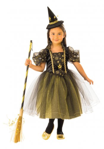 Kids Golden Star Witch Costume Small-0