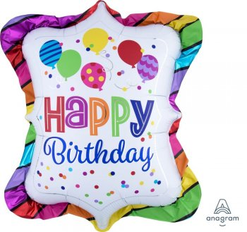 "Happy Birthday Bright Striped Trufle Balloons 27"" P35-0"