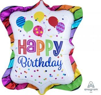 "Happy Birthday Bright Striped Trufle Balloons 27"" P35-0"