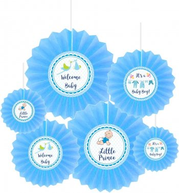 Baby Boy Fan Decoration - 6 PC-0