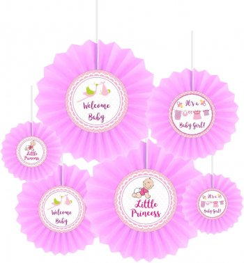 Baby Girl Fan Decoration - 6 PC-0