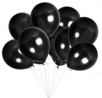 Metallic Black Latex Balloons - 10PC-0