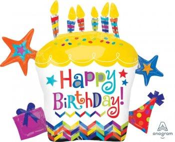 "Happy Birthday Cupcake Star Balloons 28"" P40-0"