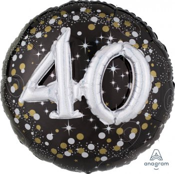 "Sparkling 40th Birthday Balloons 36"" P75-0"