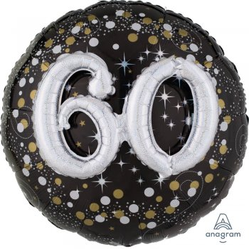 "Sparkling 60th Birthday Balloons 36"" P75-0"