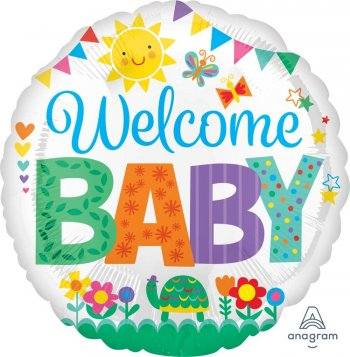 "Welcome Baby Cute Icone Balloons 18"" S40-0"