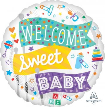 """Welcome Sweet Baby Balloons 18"""" S40-0"""