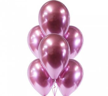 Hot Pink Chrome Balloons - 10PC-0