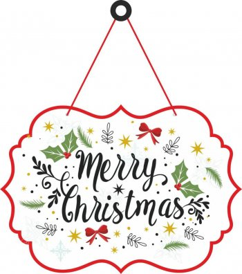 """Merry Christmas Hanging Board 18"""" - 1PC-0"""