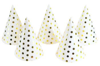 Polka Dot Gold Shimmery Hat - 6PC-0