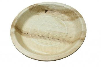 "10"" Round Bamboo Ecofriendly Plates - 10PC-0"