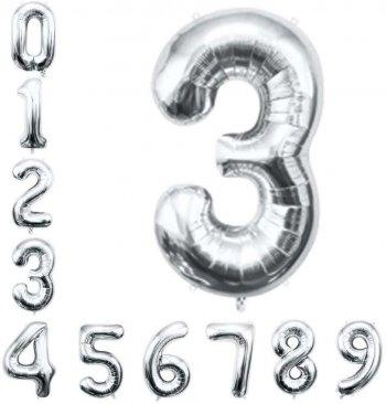 "16"" Numerical 3 Silver Balloons"