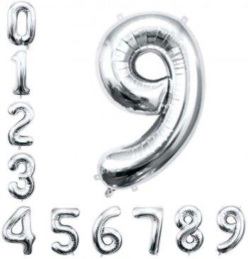 "16"" Numerical 9 Silver Balloons"