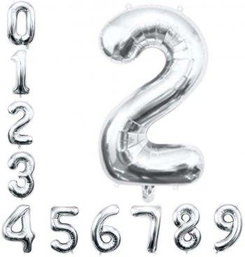"""No. 2 Silver 36"""" Foil Balloons"""