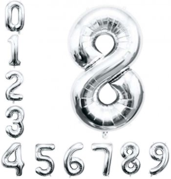 "16"" Numerical 8 Silver Balloons"