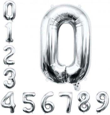 "16"" Numerical 0 Silver Balloons"