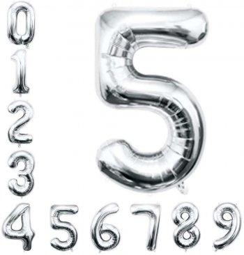 """No. 5 Silver 36"""" Foil Balloons"""
