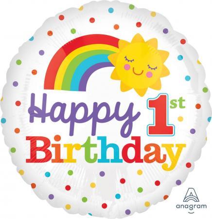 """1st Birthday Rainbow Balloons 18"""" S40-0"""