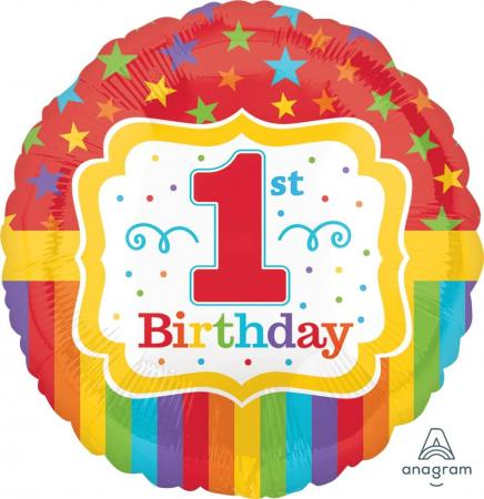 "Rainbow First Birthday 18"" S40-0"