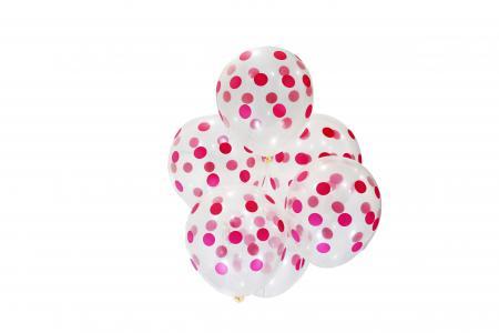 "Transparent Pink Polka Dot Balloons 11"" 10CT-0"