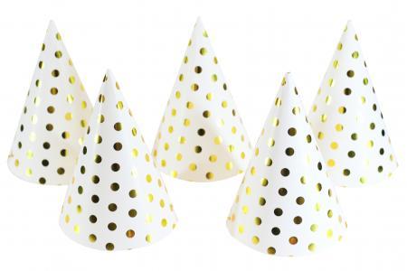 Polka Dot Gold Shimmery Hat - 6PC-0