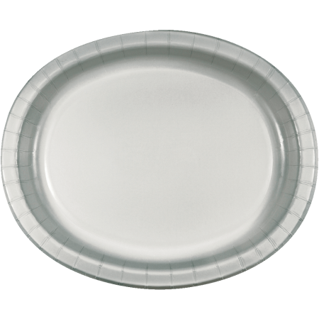 Shimmering Silver Oval Platter Plates 12 - 8PC-433281
