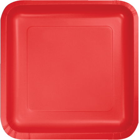 Calssic Red Square Paper Plates 9 - 8PC463548